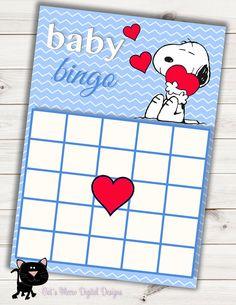 Snoopy Baby Shower Bingo Card~Printable~INSTANT DOWNLOAD