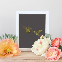 Gray and GoldGold hummingbirdprintablegold by OldRedPrintables