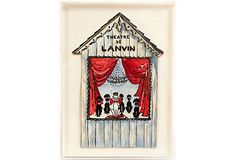 Artist unknown. Hand-drawn on cardstock in Plexiglas easel-back picture frame.  Poodle Theatre
