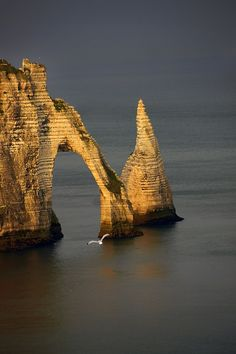 Monet painted the cliffs at Etetrat - I believe they reside at the Louvre ~ Places Around The World, Oh The Places You'll Go, Places To Travel, Places To Visit, Around The Worlds, Etretat Normandie, Etretat France, Beautiful Sites, Beautiful World