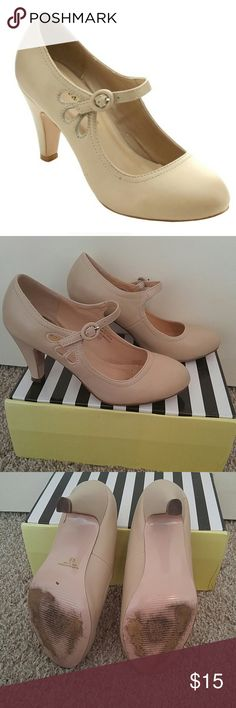 Chase & Chloe Nude Cutout Buckle Mary Jane Heels Nearly new with box! Worn 2x for a wedding rehearsal & ceremony a few hours! Wear shows on soles only. A tad small for me so I'm not keeping them. You'll be the picture of class in these stylish round toe mid-heel Mary Jane style dress pumps. Stitching details, adjustable ankle strap & neutral beige color matches everything.   Heel height: 3.25-inch  Platform height: 0.25-inch  Sole: Manmade, textured Upper material: Faux Leather Footbed…