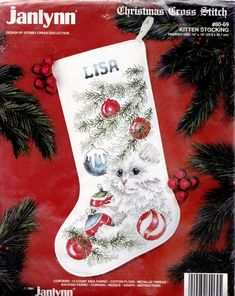 Embroidered Christmas Stockings, Cross Stitch Christmas Stockings, Cross Stitch Stocking, Needlepoint Stockings, Cat Christmas Tree, Christmas Sewing, Christmas Cross, Christmas Tree Ornaments, Xmas