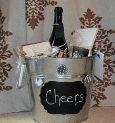 Wine Lovers Gift Bucket by aandkaccents on Etsy, $35.00 put anything in it. Not just wine chalkboard