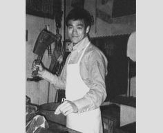 Bruce cutting meat at Ruby Chow's