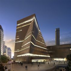 New Development of Tate Modern. Exterior view from the south at dusk 2008 © Hayes Davidson