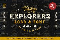 Are you looking for the perfect logo or branding for your business, but don't have thousands of dollars in the budget? We've come up with a solution. The Explorers Logo & Font Collection. For only $19, you get a bundle of eighteen customizable logos and twenty fonts