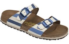 Papillio Sydney Awning Stripe Blue Canvas Two thinner, contoured straps make this style very comfortable for those with prominent foot bones. Creative patterns and materials set the Papillio Sydney apart. #birkenstock #birkenstockexpress.com  $120