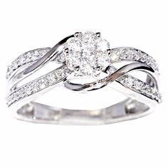 10K White Gold 1/2 Cttw Diamond Split Shoulder Bridal Wedding Ring