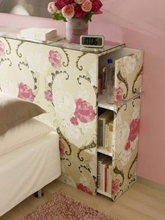 Oh yes! Love this idea for a headboard! Storage and space for lamp, book, etc. without a bedside table taking up space.