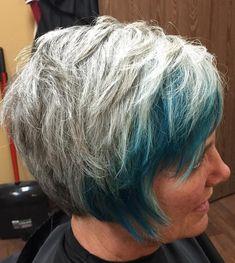50 Gray Hair Styles Trending in 2020 - Hair Adviser Cabello Peekaboo, Peekaboo Hair, Short Grey Hair, Short Hair Styles, Wavy Pixie Cut, Long Pixie, Pixie Hair, Grey Hair Looks, Pompadour Style