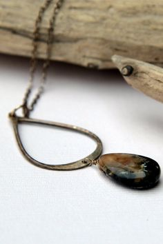 Hammered Recycled Silver Teardrop and Agate by silverthicketshop, $34.00
