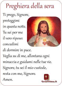 Signore Proteggimi Preghiere della Sera immagini religiose Love You So Much, Amen, Baseball Cards, God, Education, Celebrities, Christ, Te Amo, Religious Education