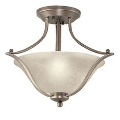 I bought this for the Kitchen - Portfolio 17.32-in Brushed Nickel Alabaster Glass Semi-Flush Mount Light
