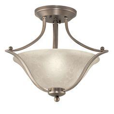 Portfolio 17.32-in W Brushed Nickel Alabaster Glass Semi-Flush Mount Light
