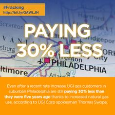 Thanks to increased natural gas use, Philadelphia customers are paying 30 percent less than they were five years ago. #fracking