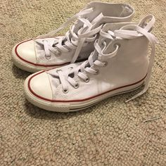 White high top converse Cute white high top converse worn only a few times women's size 7 will negotiate price with offer button. No trades Converse Shoes Sneakers
