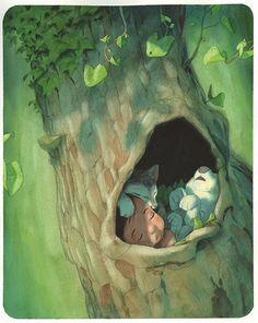Illustration originale de Quentin Gréban - L'enfant loup | Oeuvres | Galerie Robillard