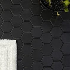 Looking for hexagon tiles or patterned tiles for your design? We've pulled each tile with this shape and put them all in one place for easy browsing. Black Tile Bathrooms, Hexagon Tile Bathroom, Black Hexagon Tile, Honeycomb Tile, Black Tiles, Bathroom Flooring, Kitchen Flooring, Small Bathroom, Master Bathroom