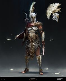 Earlier this year, I had the absolute pleasure of working for Ubisoft Quebec on Assassin's Creed Odyssey. I primarily worked on character/costume designs for a variety of Legendary outfits available in the game. Here's my concept for the Pegasus Arte Assassins Creed, Assassins Creed Odyssey, Character Concept, Character Art, Character Design, Disneysea Tokyo, Greek Warrior, Poses References, Armor Concept