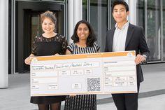 Novartis BioCamp 2015 winners Elena Gross, Sarmishtha Sharma and Masatoshi Takara proudly hold their ticket for a trip to discover Shanghai.