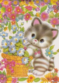 Welcome to my boards! Power Pinners and board raiders welcome here! Enjoy you time here and come back soon! Vintage Greeting Cards, Vintage Postcards, Cute Images, Cute Pictures, Cute Clipart, Cat Cards, Jolie Photo, Vintage Cat, Cat Drawing