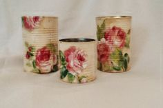 Decoupage tin cans, shabby chic roses, upcycled/recycled cans,teacher's gift, set of 3,FREE SHIPPING!!