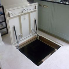 Cellar Access provides the highest quality and cost effective power assisted or electric automatic cellar floor trap doors and hatch to access your basement or cellar Basement Doors, Basement House, Crawl Space Door, Hatch Door, Secret Hiding Places, Trap Door, Wine House, Safe Room, Hidden Rooms