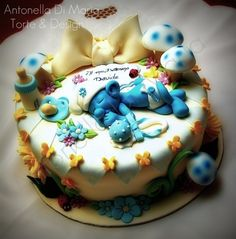 baby smurf baby shower cake ~ adorable!