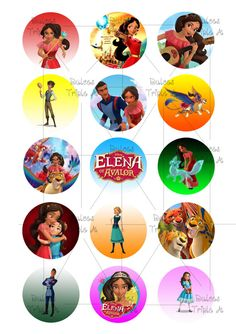 15 Toppers, Elena of Avalor, cupcake, cookies, pdf instant printable labels 5 cm diámetro, 2 pulgadas