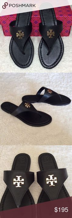 """NEW TORY BURCH LAURA THONG SANDALS/TUMBLED LEATHER Authentic. Brand new with tags. PLEASE NO TRADE. THE PRICE IS FIRM. They will come with dust bag and the box. Tory Burch Lura thong with signature medallion is sure to become your 'go to' sandal for summer. Leather upper. Leather lining and footbed.Leather sole. Strap with signature double-""""T"""" medallion on center. Slip-on style.Leather upper. Leather lining and footbed. Tory Burch Shoes Sandals"""