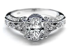 Vintage Style Oval Diamond Engagement Ring 0.83 tcw. In White Gold
