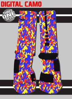 Digital Camo Custom Nike Elite Socks - Blue, Yellow, and Red
