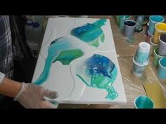 Acrylic pouring , Fluid Art : Normally when you do a acrylic pour the colours just mix randomly. Acrylic Pouring Techniques, Acrylic Pouring Art, Acrylic Art, Ocean Colors, Colours, Pour Painting, Resin Art, Art Lessons, Art Projects