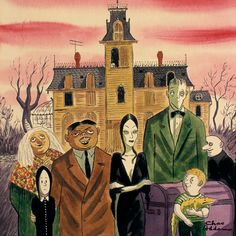 The Original Addams family, which appeared in Charles Addams' books long before the tv show. Original Addams Family, Addams Family Cartoon, Addams Family Characters, Family Illustration, Illustration Art, Illustrations, Cartoon Drawings, Cartoon Art, Frankenstein