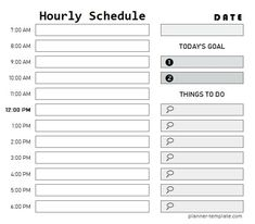 Printable Day Planner, Daily Schedule Template, Hourly Planner, Daily Planner Printable, Checklist Template, Planner Template, Free Printable, Chore Chart For Toddlers, Charts For Kids