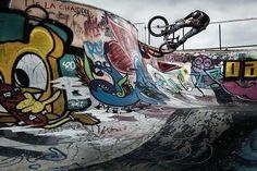 Awesome photo of @rubenalcantara cruising a pool in #amsterdam!  @rutgerpauw  #bmx #flybikes #bike #bicycle #style