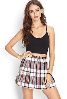 Pixel Plaid Pleated Skirt | FOREVER21 - 2000058776 Looks like it has potential, but have not see in person. I instantly picture this with black long sleeve sweater over white bow blouse with black flats or black high heeled booties