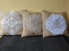 Tris di cuscini collezione PIZZO e BALLA  in tela yuta , idea regalo., by Le gioie di  Pippilella, 65,00€ su misshobby.com