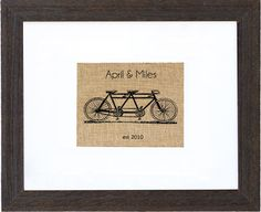 Guestbook Tandem Monogram | Fiber and Water: wall art & toss pillows made from natural burlap. Made in Maine, perfect tandem bicycle image for newlyweds, signatures fit on matting, ready to hang