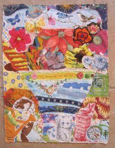 my bonny BRIGHT FLOWERS Cottage Garden Folk Art - Fabric Collage Textile Assemblage - Recycled Patchwork Quilt Materials Random Scraps