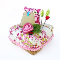 Owl and Roses Pincushion