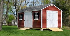 pre-fab sheds delivered in sections and assembled on-site Backyard Storage Sheds, Wood Storage Sheds, Storage Shed Plans, Backyard Sheds, Outdoor Sheds, Shed Remodel Ideas, Shed Design Plans, Shed Makeover, Custom Sheds