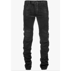 Balmain Leather-trimmed panelled cotton-denim biker jeans ($1,415) ❤ liked on Polyvore featuring mens, men's clothing, men's jeans and men