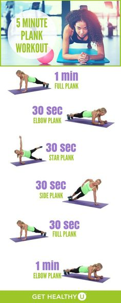 Try this 5 minute plank workout to strengthen up your core and create lean abs! Planks are the rockstar of abdominal work. If you are unclear about the many benefits of the plank or if you want to ace your form,  you might want to check out Perfecting Your Plank. Suffice it to say, the benefits of the abdominal plank are many! But now it's time to open your eyes to all the different variations the plank has to offer! | Fitness Workouts