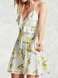 2b767f0d1e1 White V-Neck Ruffle Lemon Print Lace Up Skater Dress