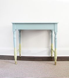 Dix Blue table with legs dipped in Churlish Green created by Little House Blog using Farrow  Ball paint #FindItPaintItLoveIt
