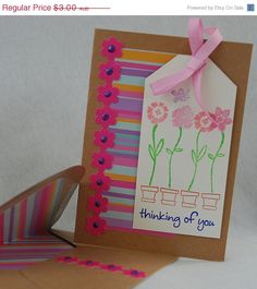 Pink Thinking of You Card Handmade Card by JemLouProductions, $2.70 #card #handmade http://www.etsy.com/listing/85089472/pink-thinking-of-you-card-handmade-card?ref=shop_home_active_16