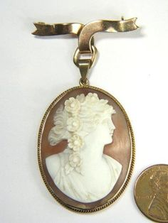 Beautiful Antique 9K Gold Carved Shell Cameo Pendant Pin Flora C1900 | eBay