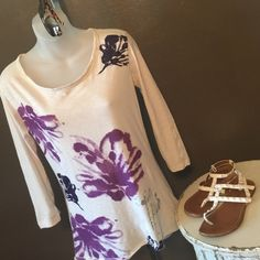 T shirt 100% Soft cotton t shirt with purple flowers, front only, 3/4 sleeve.  Fits more like a Medium.   (Item 66) Calvin Klein Tops Tees - Long Sleeve