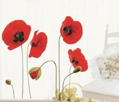 Red Poppy Flowers Removable Transparent Wall Art Decal Stickers:   Direct link: http://www.amazon.co.uk/gp/product/B008AKW8Y8/ref=s9_wish_co_d10_g201_i5?ie=UTF8&colid=38GV57TWMTN4K&coliid=I2EFNNZZV18OA9&pf_rd_m=A3P5ROKL5A1OLE&pf_rd_s=typ-top-left-1&pf_rd_r=0ZVD6HV1SVW7HX1ZSF0B&pf_rd_t=3201&pf_rd_p=517831827&pf_rd_i=typ01